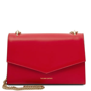Front View Of The Lipstick Red Leather Evening Clutch