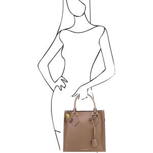 Women Posing With The Light Taupe Fortuna Vertical Leather Handbag
