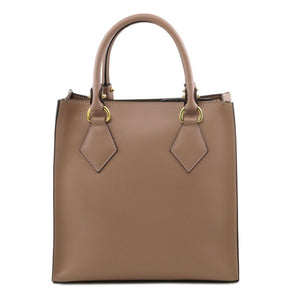 Rear View Of The Light Taupe Fortuna Vertical Leather Handbag