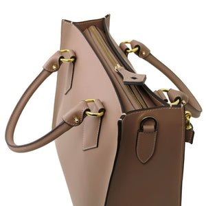 Top Angled View Of The Light Taupe Fortuna Vertical Leather Handbag