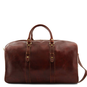 Rear Bag View Of The Brown Leather Weekender Large Travel Bag