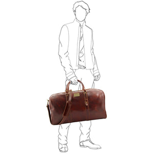 Man Posing With The Brown Leather Weekender Large Travel Bag