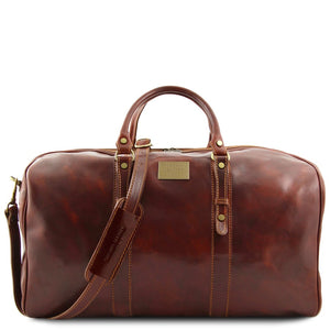 Front View Of The Brown Leather Weekender Large Travel Bag