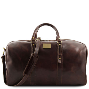 Front View Of The Dark Brown Leather Weekender Large Travel Bag