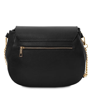 Rear View Of The Black Womens Shoulder Bag