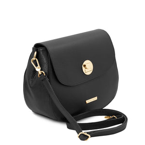 Angled And Shoulder Strap View Of The Black Womens Shoulder Bag