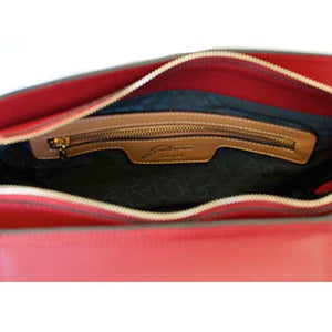 Internal Zip Pocket View Of The Red Leather Clutch Bag