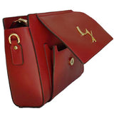Front Opening Pocket View Of The Red Leather Clutch Bag