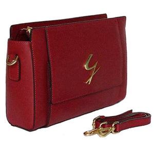 Angled And Shoulder Strap View Of The Red Leather Clutch Bag