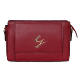 Front View Of The Red Leather Clutch Bag