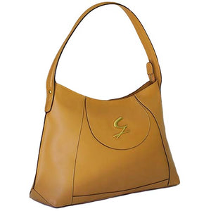 Angled View Of The Tan Leather Hobo Bag