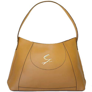 Front View Of The Tan Leather Hobo Bag
