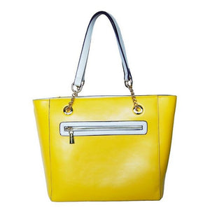 Rear View Of The Yellow And Cream Blocked Kylie Leather Handbag-On Sale