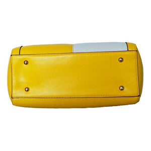 Underneath View Of The Yellow And Cream Blocked Kylie Leather Handbag-On Sale