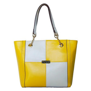 2nd Front View Of The Yellow And Cream Blocked Kylie Leather Handbag-On Sale