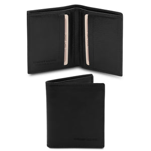 Front And Open View Of The Black Genuine Leather Wallet