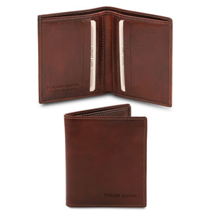 Front And Open View Of The Brown Genuine Leather Wallet