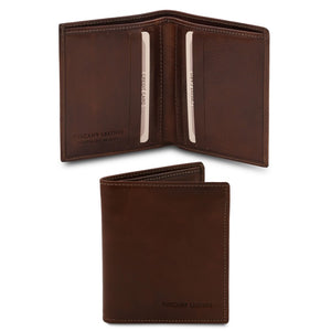 Front And Open View Of The Dark Brown Genuine Leather Wallet