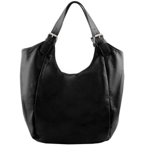 Front View Of The Black Gina Leather Hobo Bag