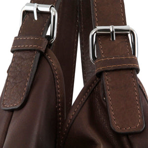 Leather Handles View Of The Dark Brown Gina Leather Hobo Bag