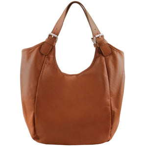 Front View Of The Cognac Gina Leather Hobo Bag