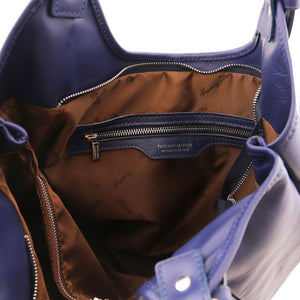 Internal View Of The Dark Blue Gina Leather Hobo Bag