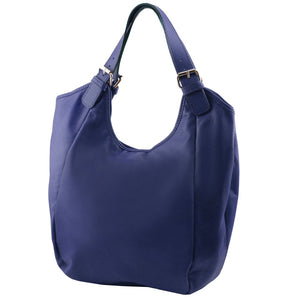 Angled View Of The Dark Blue Gina Leather Hobo Bag