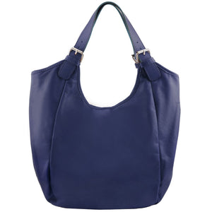 Front View Of The Dark Blue Gina Leather Hobo Bag