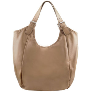 Front View Of The Light Taupe Gina Leather Hobo Bag