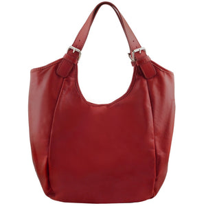 Front View Of The Red Gina Leather Hobo Bag
