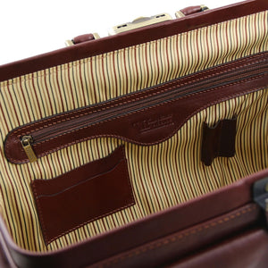 Internal Zipper Pocket View Of The Brown Double-Bottom Doctors Bag