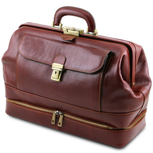Angled View Of The Brown Double-Bottom Doctors Bag