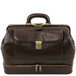 Front View Of The Dark Brown Double-Bottom Leather Doctors Bag