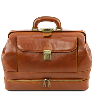 Front View Of The Honey Double-Bottom Leather Doctors Bag