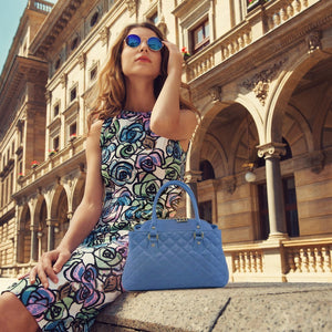 Women Posing With The Azure Quilted Leather Handbag