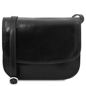 The Front View Of The Black Saddle Handbag