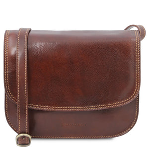 The Front View Of The Brown Saddle Handbag