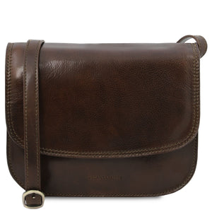 The Front View Of The Dark Brown Saddle Handbag