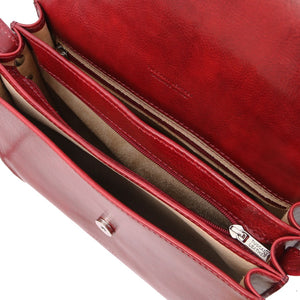 Internal Compartments View Of The Red Saddle Handbag