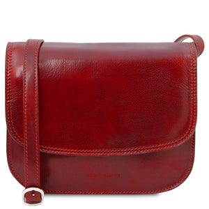 The Front View Of The Red Saddle Handbag