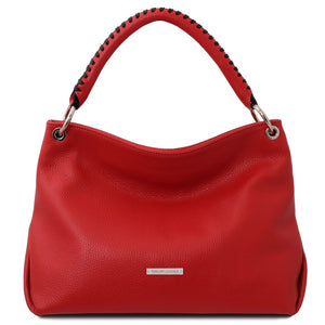 Front View Of The Lipstick Red Handbag For Ladies