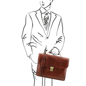 Sketch Of Man Holding The Brown Alessandria Leather Laptop Briefcase