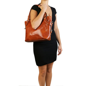 Women Posing With The Honey Leather Shoulder Handbag