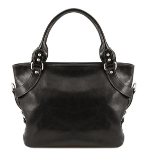 Front View Of The Black Leather Shoulder Handbag