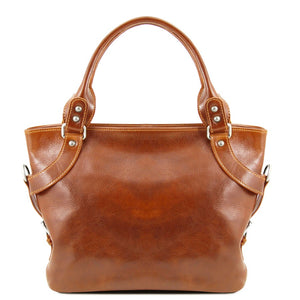 Front View Of The Honey Leather Shoulder Handbag