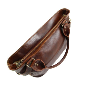 Top Zip Closure View Of The Brown Leather Shoulder Handbag