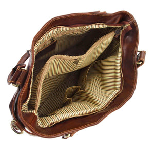 Internal View Of The Brown Ilenia Leather Shoulder Handbag