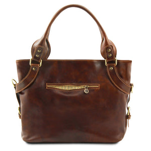Rear View Of The Brown Leather Shoulder Handbag