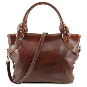 Shoulder Strap View Of The Brown Ilenia Leather Shoulder Handbag
