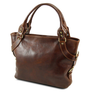Angled View Of The Brown Leather Shoulder Handbag